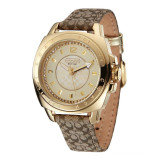 Best Deal Coach Style Women S Leather Strap Watch Gold