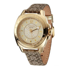 Buy Coach Style Women S Leather Strap Watch Gold Online China