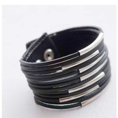 Review Cocotina Cool Men Womens Multilayer Cuff Bangle Gothic Punk Faux Leather Wrap Bracelet Jewellery Black China