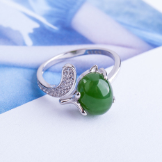 Best Deal Cool Fox Ring 925 Sterling Silver Jade And Nephrite Jade
