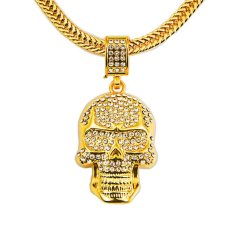 Best Buy Cool Skull Necklace Gold Vacuum Plating Personality Necklace Women And Men Hallowmas Jewelry Accessories Christmas Gifts Intl