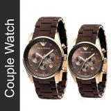 Price Couple Emporio Armani Sportivo Brown Silicone Strap Watch Ar5890 And Ar5891 Singapore
