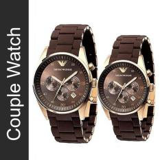 Store Couple Emporio Armani Sportivo Brown Silicone Strap Watch Ar5890 And Ar5891 Emporio Armani On Singapore