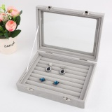 Where Can I Buy Crosswise Row Velvet Jewelry Case Storage Box For Rings Earrings Necklaces Bracelet Intl