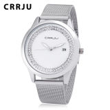 Crrju 2102 Female Quartz Watch Artificial Crystal Dial Date Display Stainless Steel Mesh Band Wristwatch Silver Timezone Cheap On Singapore