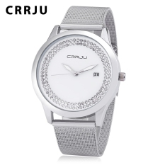 Where Can I Buy Crrju 2102 Female Quartz Watch Artificial Crystal Dial Date Display Stainless Steel Mesh Band Wristwatch Silver