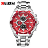 Latest Curren 8023 Men Watches Quartz Watch Waterproof Silver Red