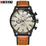 Sale Curren Brand New Top Fashion Casual Quartz Wrist Watch Wrist Watches Round Leather Band Men S Quartz Water Resistant 30 M 8250 Cofee Black Beige Intl China Cheap