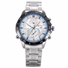 Best Price Curren New Fashion Design Men S White Blue Date Display Sport Steel Band Quartz Wrist Watch Cur040 Intl