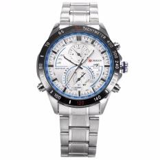 Sale Curren New Fashion Design Men S White Blue Date Display Sport Steel Band Quartz Wrist Watch Cur040 Intl On China