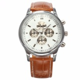 Dalas New Fashion Stylish Men S White Dial Silver Case Analog Quartz Sport Brown Leather Dress Cool Wrist Watch Waa690 Intl On Line