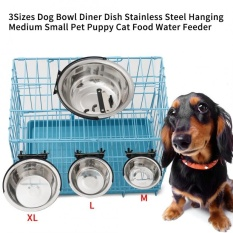 Dog Bowl Stainless Steel Hanging Diner Dish Medium Small Pet Cat Food Water Feeder (m) - Intl By Rongshida.