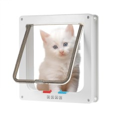 Dog Door Small Middle 4-Way Locking Cat Flap Wall Mount Pet Door For Pets Safe White - Intl By Tomtop.