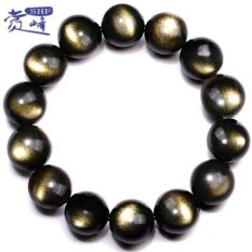 Sale Double Gold Animal Year Enlightenment Natural Gold Obsidian Bracelet Oem On China