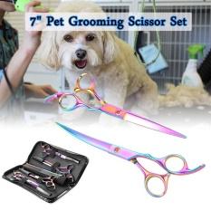 Cheaper Dream Best 7 Professional Pet Dog Cat Grooming Scissor Cut Curved Thinning Shear Set Os661 Intl