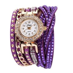 Duoya Women Brand Crystal Rhinestone Bracelet Dress Watch Purple Intl On China