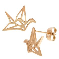 Price Elbluvf Stainless Steel Rose Gold Plated Peace Dove Bird Animal Paper Crane Earrings Int L Online China