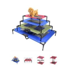 Elevated Pet Cot Bed Frame With Net M Blue Oem Discount