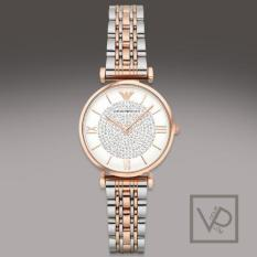 Where To Shop For Emporio Armani Women S White Crystal Pave Dial Two Tone Stainless Steel Ladies Watch Ar1926