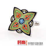 Sale Fine Female Men S Plated White Gold Colorful Art Green Cufflinks Online China