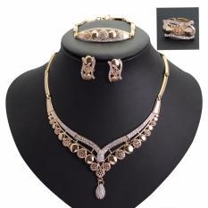 426ec6afe371d Fancyqube Fine Jewelry Sets Necklace Ring Bracelet Earrings Wedding Gold  Plated For Women - intl
