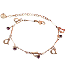 Fang Fang Retro Indian Head Crystal Chain Anklet D Letter Shape (Gold)