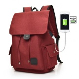 Retail Price Fashion Canvas Backpack Anti Theft With Usb Charging Laptop Business Unisex Knapsack Shoulder Waterproof Women Travel Bag H047 Intl