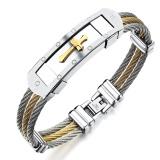Fashion Men S Stainless Steel Bracelet Punk Heavy Metal Gold Silver Color Cross Bracelets Bangles For Men Jewelry Accessories Intl Review