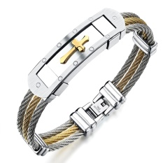 Fashion Men S Stainless Steel Bracelet Punk Heavy Metal Gold Silver Color Cross Bracelets Bangles For Men Jewelry Accessories Intl For Sale