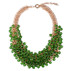 Great Deal Magideal Multi Layered Braided Chain Crystal Beads Choker Necklace Green