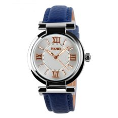 Price Compare Fashion Rose Rhinestone Women S Genuine Leather Wristwatch Blue Intl