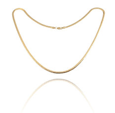 035829dcba0 Fashion Simple Design Gold Plated Flat Curb Chain Necklace for Men Women
