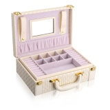 Discounted Fashion Style Pu Leather Suitcase Jewelry Display Organizer Holder Earrings Ring Necklace Storage Case Box Beige Intl