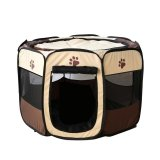 Buy Foldable Portable Dog Cat Rabbit Puppy Pet Playpen Exercise Pen Oxford Cloth Size M Brown Intl Online China