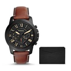 Who Sells Fossil Fs5335Set Grant Chronograph Brown Leather Watch And Card Case Box Set Cheap