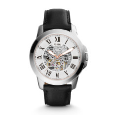 Review Fossil Men S Grant Automatic Black Leather Strap Watch Me3101 Fossil On Singapore