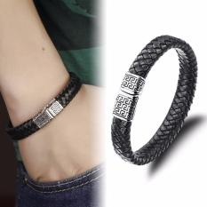 Where To Shop For Genuine Leather Bracelet Men Stainless Steel Leather Hand Woven Bracelet Magnetic Buckle Punk Rock Intl