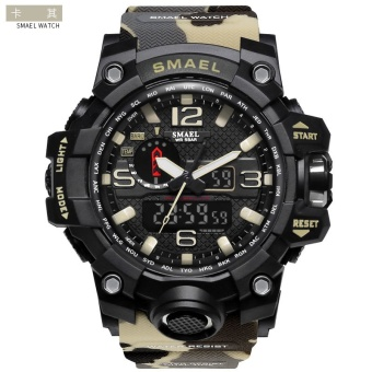 Buy 【Genuine Products】Smael Outdoor Sports Waterproof Double Display Men S Watches Multi Function Led Electronic Watches Khaki Intl On Singapore