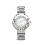 Glamour Metal Watch Pink Crystals From Swarovski® And 1 Real Diamond On Line