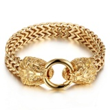 Where To Buy Gold Plated Stainless Steel Lion Heads Franco Curb Chain Men S Rocker Bracelet Gold Intl