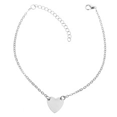 Gold Silver Tone Love Heart Ankle Bracelet Single Layer Chain Sexy Foot Anklet