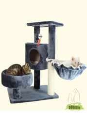 Price Comparison For Grey Color Cat Scratching Tree With Hammock