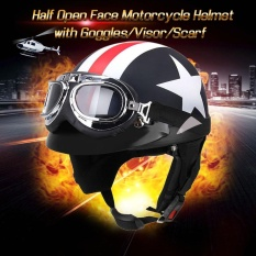 Half Open Face Motorcycle Helmet With Goggles Visor Scarf Biker Scooter Touring Helmet For Harley Intl Discount Code