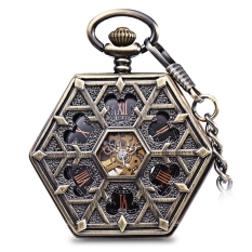 Best Buy Hexagon Dial Hollow Out Flip Cover Mechanical Pocket Watch Chain Table Intl