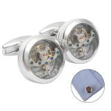Get The Best Price For High Grade White Steel Color Balance Wheel The Tourbillon Movement Cufflinks Two Lines Intl