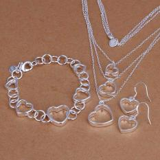 High Quality Store New New 925 Sterling Silver Plated Heart Chain Bracelet Earring Necklace Jewelry Set