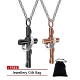 Buy His Hers Stainless Steel Two Tone Ring Cross Pendant Couples Necklace With Chain Intl Oem Online