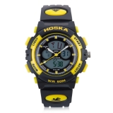 Hoska Hd005S Dual Movt Children Sport Quartz Watch Water Resistance Chronograph Date Display Led Digital Wristwatch Yellow Price