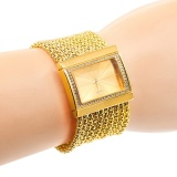 Hot Sales Classic Luxury Quartz Watch Women S Gold Diamond Case Alloy Band Bracelet Watch New Design(Gold) Intl Review
