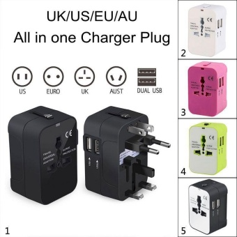 huohu Universal Travel Adapter - All-In-One Worldwide Travel Adapter Plugs AC Wall Outlet Power Charger with Dual USB Charging Ports for USA EU UK AUS Cell Phone Laptop and More
